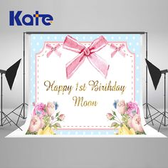 KATE Photography Backdrops 10X10Ft Custom Photo Backdrops Photo Background Flower Pink Baby One Year Birthday Newborn Background