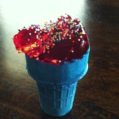 Jello or yogurt in colorful ice cream cones with sprinkles on top! Fun and healthier snack than ice cream!
