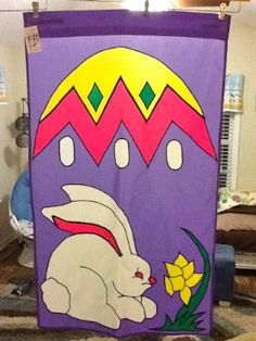 Easter Bunny  and Egg Large Decorative Flag by FlagsbyKathy