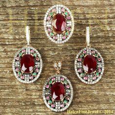 Hurrem Sultan Set Оттоманская Порта Cеребра Oval Shape Ruby Color Look Jewelery #Unbranded