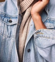 Light denim jacket over a sweater // Find pieces to recreate the style on Effinshop.com