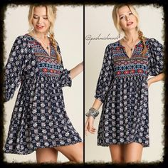 Navy Printed Baby Doll Tunic Dress Approximately 33 inches long from the shoulder. 65% cotton 35% polyester. Dresses