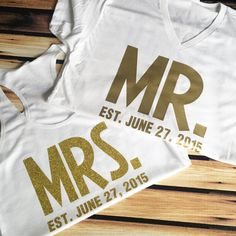 His and Hers T-Shirts - Bold Mr. and Mrs. Shirts with Wedding Date - Bride and Groom T-Shirts - Wedding Date Shirts - Honeymoon Shirts