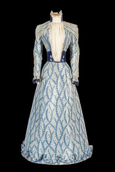 """""""The Blue Dress,"""" 1890s, worn by Empress Elisabeth. The empress wore the dress at her summer home on the Greek island of Corfu; the dating indicates that it was worn after the death of Crown Prince Rudolf, proving that, contrary to popular belief, her wardrobe did not just consist of black items after her son's suicide."""