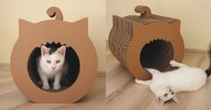 cardboard diy cat house - Google Search