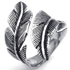 Vintage Fashion and Lifestyle KONOV Mens Womens Stainless Steel Ring, Vintage Feather, Black Silver