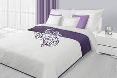 Přehoz na postel bílo fialové barvy s fialovým vzorem Bed Sheets, Pillows, Ornament, Furniture, Design, Home Decor, Top, Homemade Home Decor, Decorating