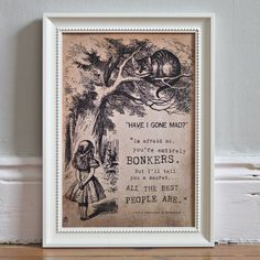 alice in wonderland 'bonkers' poster print by i am nat | notonthehighstreet.com