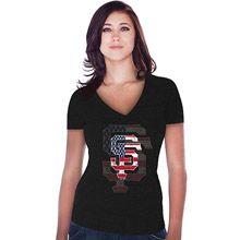 San Francisco Giants Women's Stars & Stripes Tri-blend Deep V-neck T-Shirt by Majestic Threads