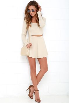Stratosphere Beige Two-Piece Skater Dress at Lulus.com!