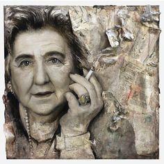 "100x100 ""Vado fumando, Alda Merini"" dipinto acrilico e carta su tela"