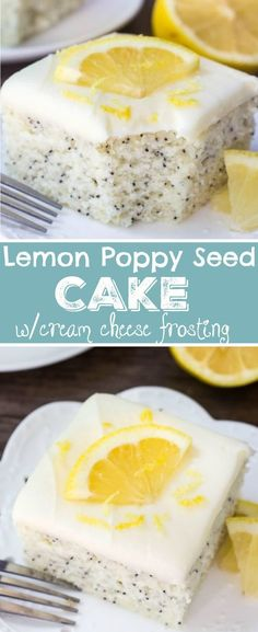 Soft and moist Lemon Poppy Seed Cake with a cream cheese. Soft and moist Lemon Poppy Seed Cake with a cream cheese frosting! This dessert is perfect for lemon lovers. via Sweet Basil 13 Desserts, Brownie Desserts, Lemon Desserts, Lemon Recipes, Sweet Recipes, Delicious Desserts, Yummy Food, Top Recipes, Frosting Recipes