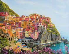 """The stunning Manarola in Cinque Terre, Italy. This is a 12x12"""" square premium quality giclée art print from an original oil painting by UK artist Ellisa Hague.  Other pieces in this series are available, please visit www.EllisaHagueOriginal.com or visit the Etsy Shop to view them."""