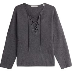 Vince Wool and Cashmere Pullover (1.045 RON) ❤ liked on Polyvore featuring tops, sweaters, shirts, jumpers, long sleeves, grey, long-sleeve shirt, grey cashmere sweater, laced up shirt and wool sweaters