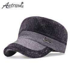 45c226b80d067 2017 Winter Flat Hats with Ear Flaps Russian Warm Baseball Cap Men Z-3987  Snapback