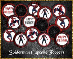 Spiderman Cupcake Toppers Spiderman Cupcake Toppers, Etsy Store, Your Design, Card Stock, Vibrant Colors, Happy Birthday, Happy Brithday, Bold Colors, Urari La Multi Ani
