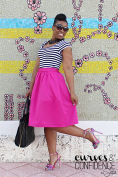 Hot Pink Midi Skirt? (Sure, Why Not!) | Express - Pink Midi Skirt | Limited - Striped T Shirt | Just Fab - Orli Sandals |