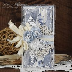 Hello Everyone! Today I am sharing this celebrate card that could be used for many of occasions. I love these rich blues for a feminine c. Birthday Greeting Cards, Birthday Greetings, Mixed Media Cards, Shabby Chic Cards, Shabby Flowers, Blue Roses, Scrapbooking, Heartfelt Creations, Cool Cards