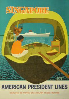 Original Vintage Posters -> Travel Posters -> Singapore American President Lines - AntikBar