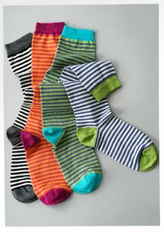 Striped cotton/nylon/spandex knee socks – Organic jersey – GUDRUN SJÖDÉN – Webshop, mail order and boutiques | Colorful clothes and home tex...