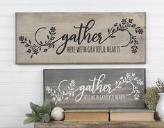 Gather Here Grateful Hearts Wood Sign with Floral Design. Family Christian Inspirational Wall Art Farmhouse Cottage Style 2019 Gather Here Grateful Hearts Wood Sign with Floral Design. Diy Wood Signs, Rustic Wood Signs, Pallet Signs, Home Wood Sign, Diy Pallet, Modern Floral Design, Inspirational Wall Art, Painted Signs, Painting On Wood