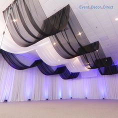 EventDecorDirect.com is the #1 supplier of professional ceiling draping kits at factory-direct prices. Choose from a huge variety of styles, colors and sizes. We also offer accessories that allow you to drape a ceiling without a ladder! Our ceiling draping kits are ideal for weddings, events, parties, corporate events, banquet halls, event centers and much more. Enjoy FREE SHIPPING on all of our ceiling draping kits. Shop Now at EventDecorDirect.com | Questions? Call Us Today 1-800-914-3538 Decoration Evenementielle, Backdrop Decorations, Wedding Table Decorations, Balloon Decorations, Birthday Decorations, Wedding Centerpieces, Wedding Ceiling, Event Decor Direct, Wedding Stage