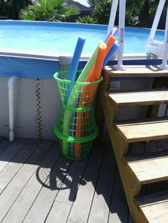 Find this Pin and more on Our 2 Acres. Great idea for pool noodle storage!