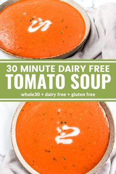 This 30 Minute Dairy Free Tomato Basil Soup is rich, creamy, simple! The ingredient list will make you feel great about feeding it to your family. Plus it's and gluten free! Dairy Free Tomato Soup, Gluten Free Soup, Dairy Free Diet, Tomato Soup Recipes, Paleo Soup, Dairy Free Recipes, Healthy Recipes, Easy Tomato Basil Soup, Gastronomia
