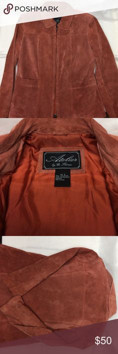 Atelier Suede Jacket Beautiful Stylish Jacket.  Burnt Orange/Rust Color. SIZE SMALL. 100% machine washable leather. LINING 100% polyester.  This jacket is washable and toss in dryer on low how great right! Not extremely heavy leather nice and soft. SMOKE AND PET FREE. WILLING TO BUNDLE items. atelier by B. Thomas Jackets & Coats