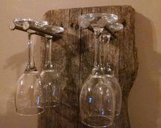Rustic Barn Wood Wine Glass Rack by RinehimerWoodworking on Etsy