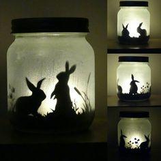 Bunny rabbit silhouette jar light, (lit with a flickering LED light)