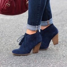 Sole Society Navy Lace Up Booties Worn twice. Basically brand new. Pretty Shoes, Beautiful Shoes, Cute Shoes, Me Too Shoes, Fall Booties, Lace Up Booties, Ankle Booties, Suede Boots, Heeled Boots