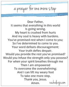 a prayer for one more step