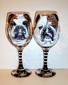 263d77e8311 Pet Portraits Hand Painted Wine Glasses Custom Painting of Your Dog Any Pet  On 2 - 20 oz. Wine Glasses Painted Glassware Bulldogs