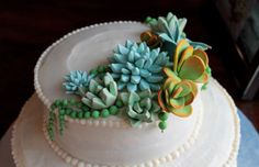 This is really unique - a cake with frosting succulents! Yum