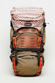 Chums Brown Sinawava 45 Backpack. Man. This one is fun. No reviews though, so risky to get for hiking. A hiking pack is an investment #hikinggear #backpackinghikinggear