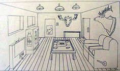 one point perspective room interiors middle school art lesson. Expand lesson by telling them to choose a point of interest to detail. Drawing Projects, Drawing Lessons, Art Lessons, Drawing Ideas, One Point Perspective Room, Perspective Drawing, Middle School Art, Art School, Bedroom Drawing