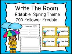 Do your students like on work on the go? This learning center let them have a chance to get the wiggles out in a positive way. There are 12 quarter page cards in this editable write the room product, a recording sheet and two sentence writing pages with an illustration box.