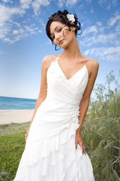 sexy informal beach wedding dress sleeve strap http://obsit.com/choosing-beach-weddings-dresses-for-the-day.html#