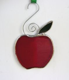 Apples Stained Glass Tree Ornament Halloween by GothicGlassStudio