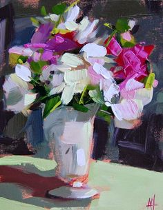 Peonies in White Vase Painting | angela moulton's painting a day | Jun 22