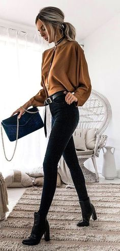 #fall #outfits women's brown long sleeved shirt, black pants, and black chunky heeled boots