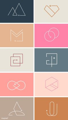Colorful minimal design logo collection vectors free image by busbus Minimal Logo Design, Graphic Design Trends, Graphic Design Posters, Graphic Design Illustration, Illustrator Logo Design, Logo Design Simple, Illustrator Video, Creative Poster Design, Modern Logo Design