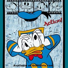 Donald Duck Action Quilt Fabric Panel to sew