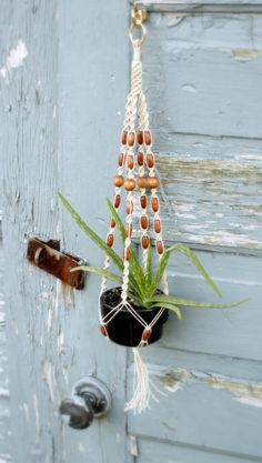 Young Simple Love Natural Hemp Macrame Plant Hanger by Macramaking, $14.00