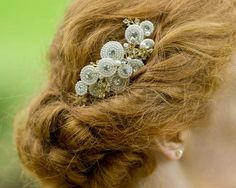 Gorgeous Pearl, Crystal & Gold Hair Comb, Trinity