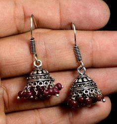 Jhumki Handmade Hook 925 Sterling Silver Plated Designer Earrings Jewelry KED117 #krsnajewels #DropDangle
