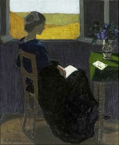 .:. Jeune femme lisant à sa fenêtre (1921). Marius Borgeaud (Swiss, 1861-1924). Oil on canvas.In the 1920s, Borgeaud moved to a village in Brittany, Le Faouët, known for its colony painters. He preferred anonymous places like the station and always painted more private interiors. The paintings he produced during the three years he spent in Faouët, between early 1920 and late 1922, are considered the height of his œuvre.
