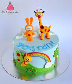 Tortastičarnica Baby 1st Birthday Cake, Jungle Birthday Cakes, Birthday Cake Toppers, Baby Tv Cake, Baby Boy Cakes, Baby Shower Cakes, Fondant Baby, Fondant Cakes, Bolo Mickey