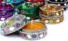 Indian Party Wedding Favors Set of 12 Scented Candles In Mix of Colors | catfluff - Craft Supplies on ArtFire